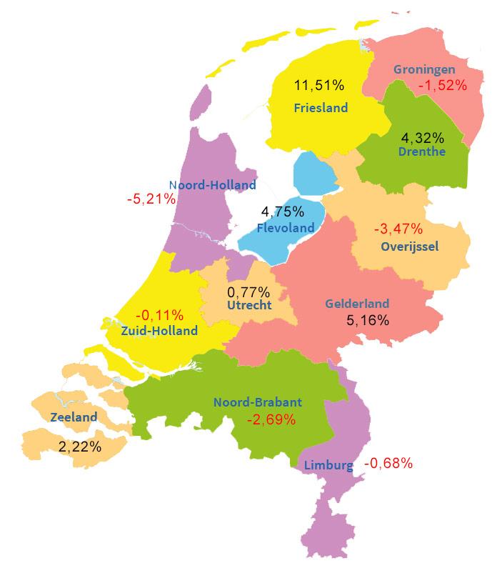 Kaart huurprijzen Nederland oktober 2020